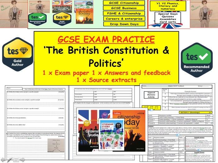 New GCSE Citizenship 9-1: Assessment Exam on British Constitution and Politics