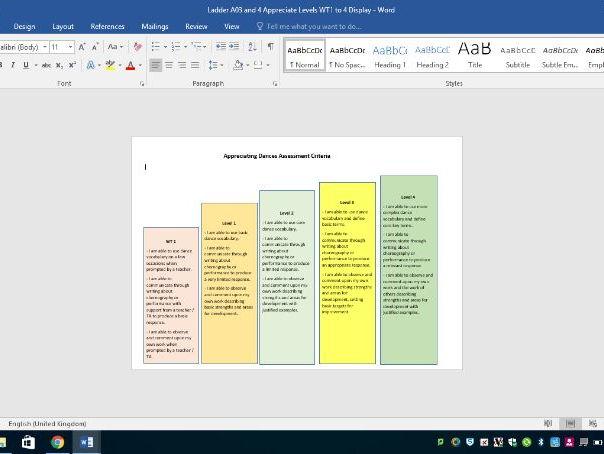 KS3 Dance Assessment Level Ladder - based upon the new GCSE Dance Specification