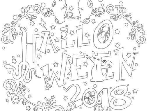 Halloween colouring and bunting