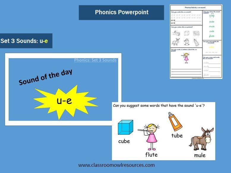 Phonics Powerpoint & Worksheet - u-e sound