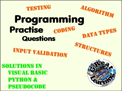 Programming Homework/Assessment Practise Questions (Set 1)