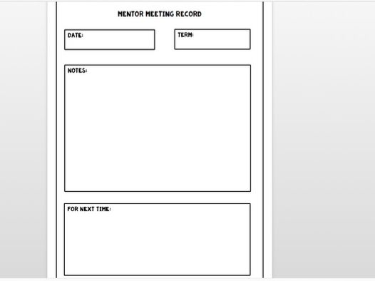 Mentor Meeting Record Sheet