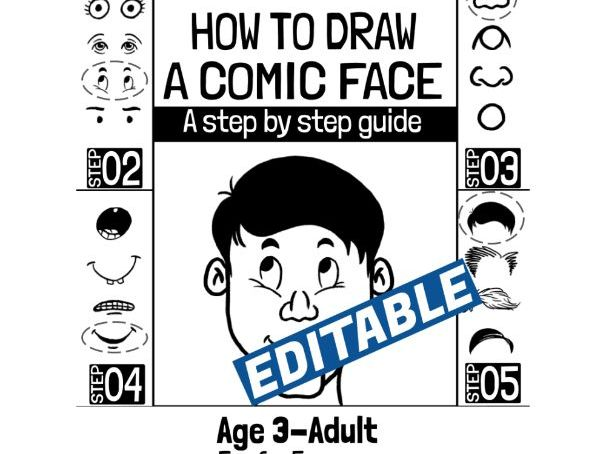 How to Draw a Comic Face (Customizable and Commercial Usage)