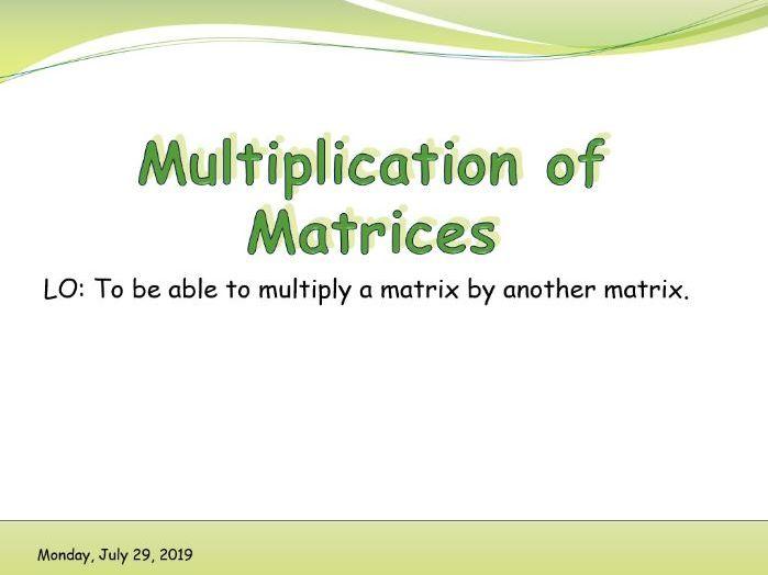 IB Applications and interpretations - Multiplication of matrices