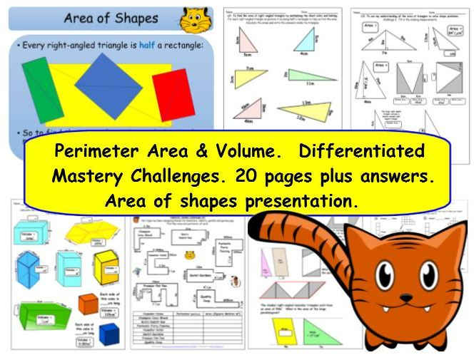 Perimeter  Area & Volume Y6 Differentiated Mastery Challenges & Shapes Area Presentation