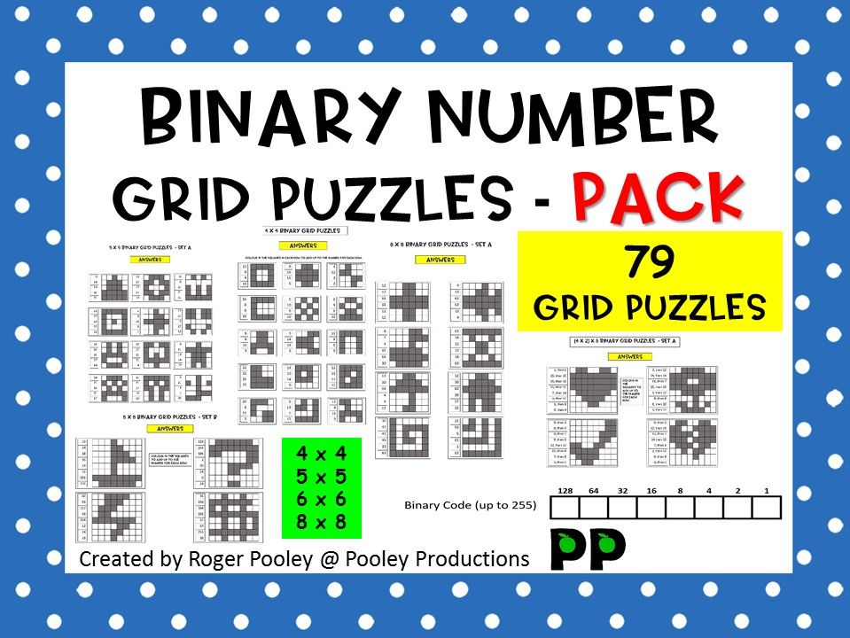 Binary Number Grid Puzzles Pack