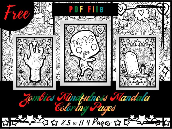 FREE Zombies Mindfulness Mandala Coloring Pages, FREE Zombie Printable Coloring Sheets PDF