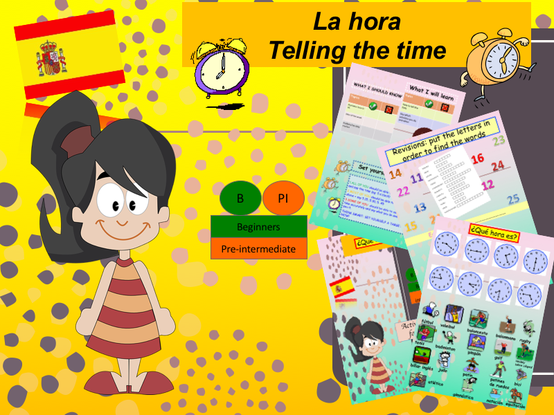 Telling the time in Spanish (lesson + activities) / Que hora es ?