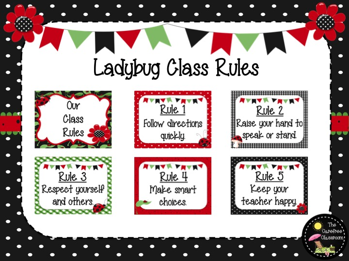 Class Rules: Ladybug Themed