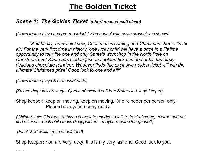 Christmas production script.   Non religious xmas play.    The Golden Ticket