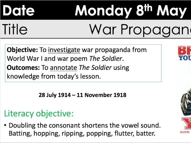 WJEC Eduqas poetry Brooke's 'The Soldier'  two lesson analysis with context