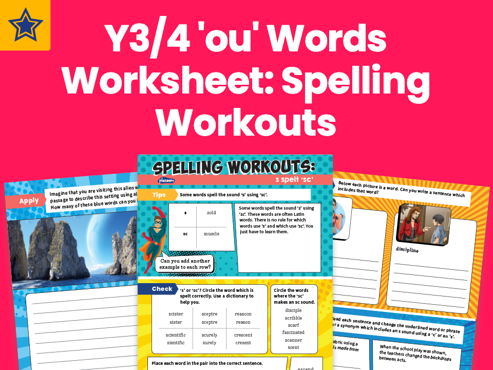 Years 3 And 4 'ou' Words Worksheet: Spelling Workouts