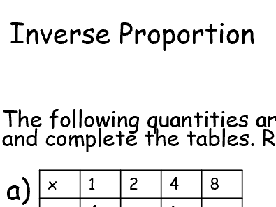 Inverse Proportion Worksheet