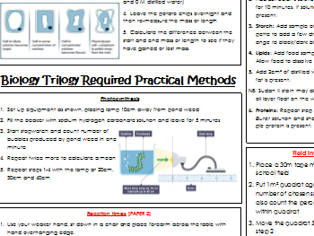 AQA Combined Science Trilogy- Biology Required Practicals-methods