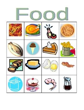 Food in English Bingo