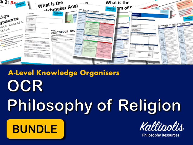 OCR Religious Studies KS5 Knowledge Organisers - Unit 1 Philosophy of Religion Revision Pack