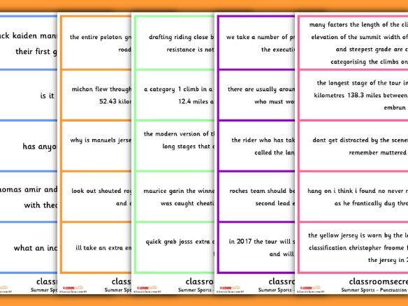 KS2 Punctuation Game Summer Sport Wimbledon Tour de France
