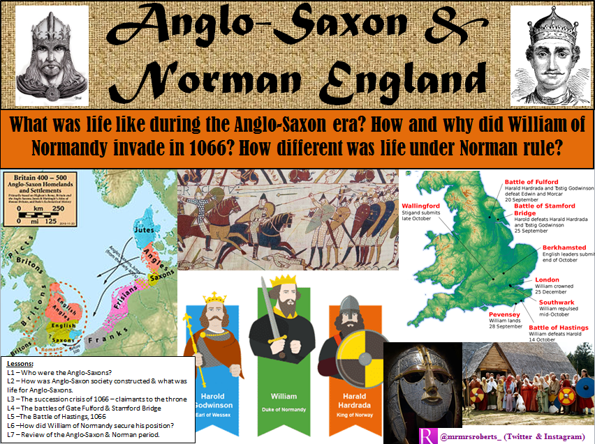 KS3 - Anglo-Saxon & Norman England - 8 lessons SOW - Activities included (L1 free on shop)