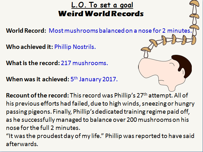 Going for Goals and World Records PSHCE lesson