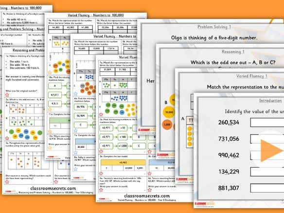 Year 5 Numbers to 100,000 Autumn Block 1 Step 4 Lesson Pack