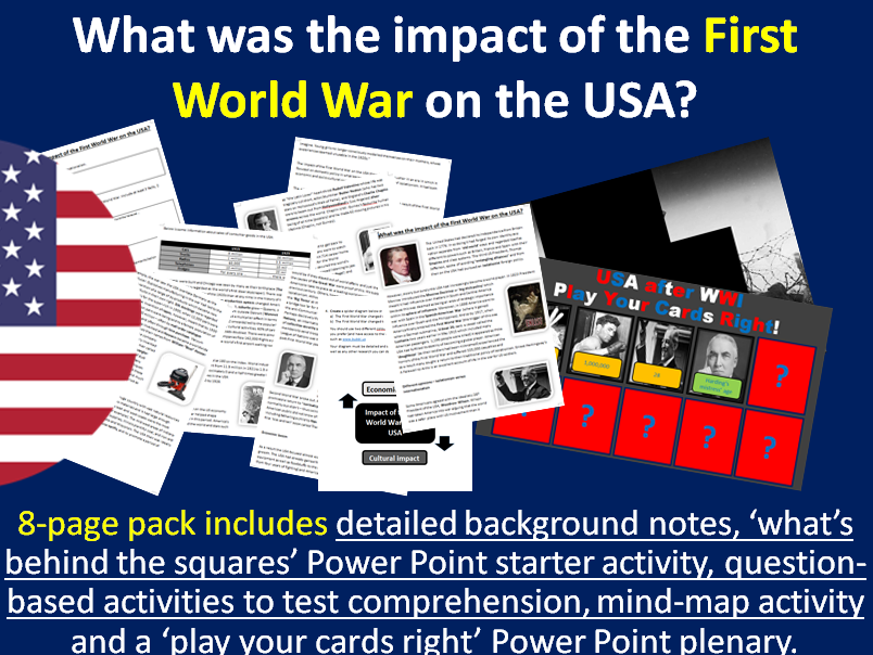 Impact of WWI on the USA - 8-page full lesson (notes, worksheet activities)