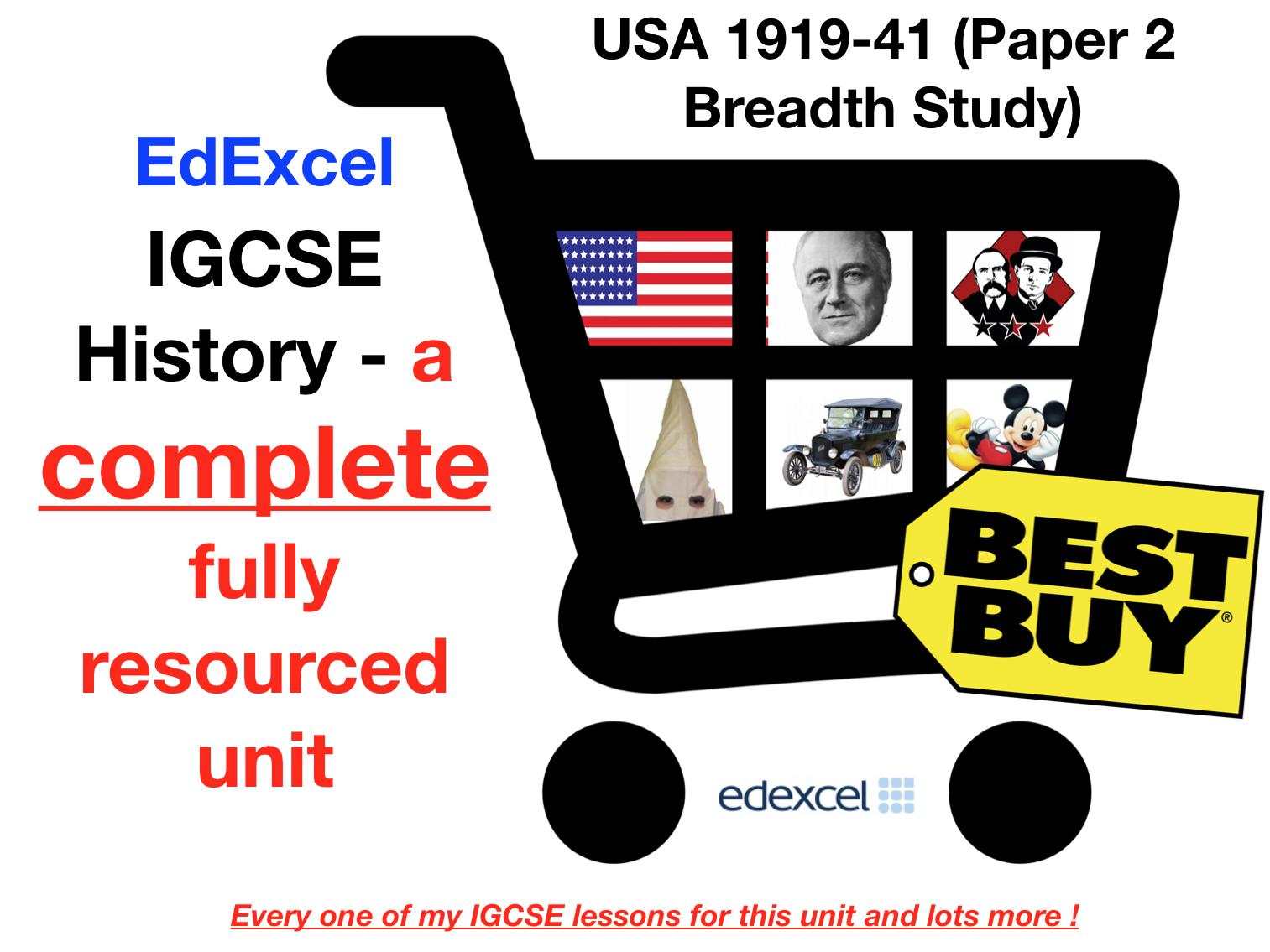 EdExcel IGCSE History USA 1917-41 - Full Unit Paper 2 Breadth Study Bundle (with Revision Menu)