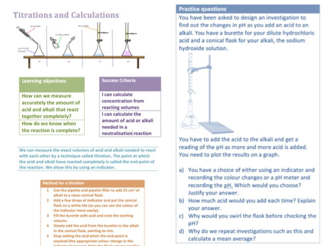 2016 AQA GCSE chemistry - Unit 4 - Lesson 6 Acid and Alkali Titrations and Calculations