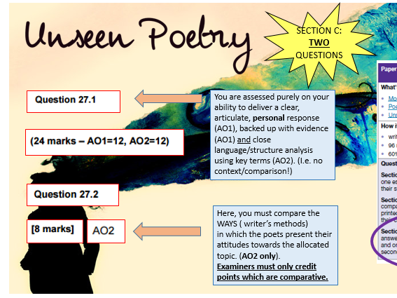 Unseen Poetry Lesson AQA GCSE New Specification