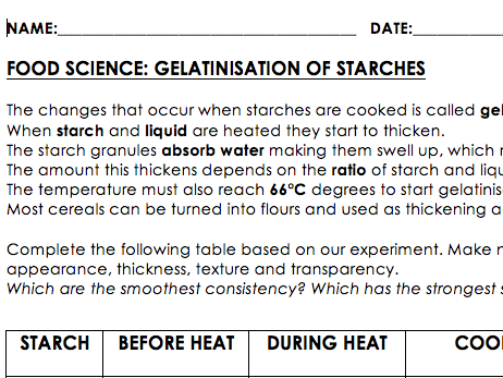 Gelatinisation Experiment Handout - GCSE Food & Nutrition or Science