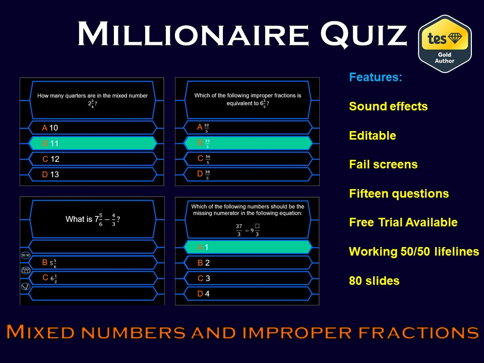 Millionaire Quiz! (Mixed Numbers and Improper Fractions Edition)