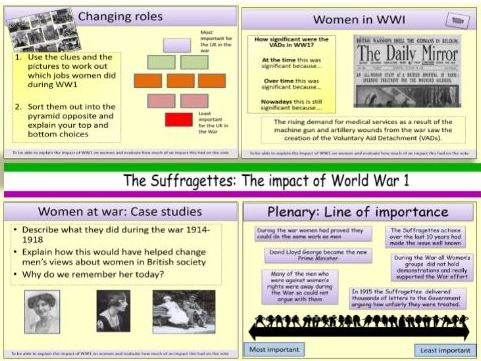 The Suffragettes: The role of women in World War 1