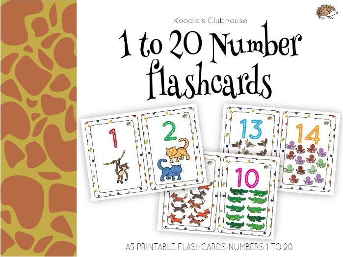 graphic regarding Printable Numbers Flashcards identified as Quantities 1 toward 20 Flashcards