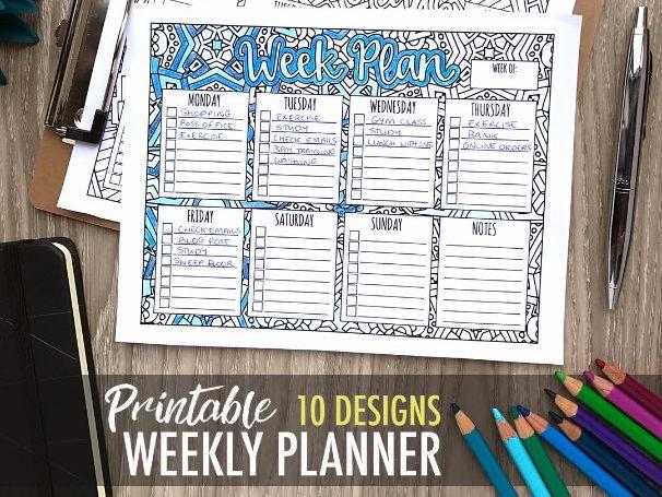 Printable Week Planner (10 designs)