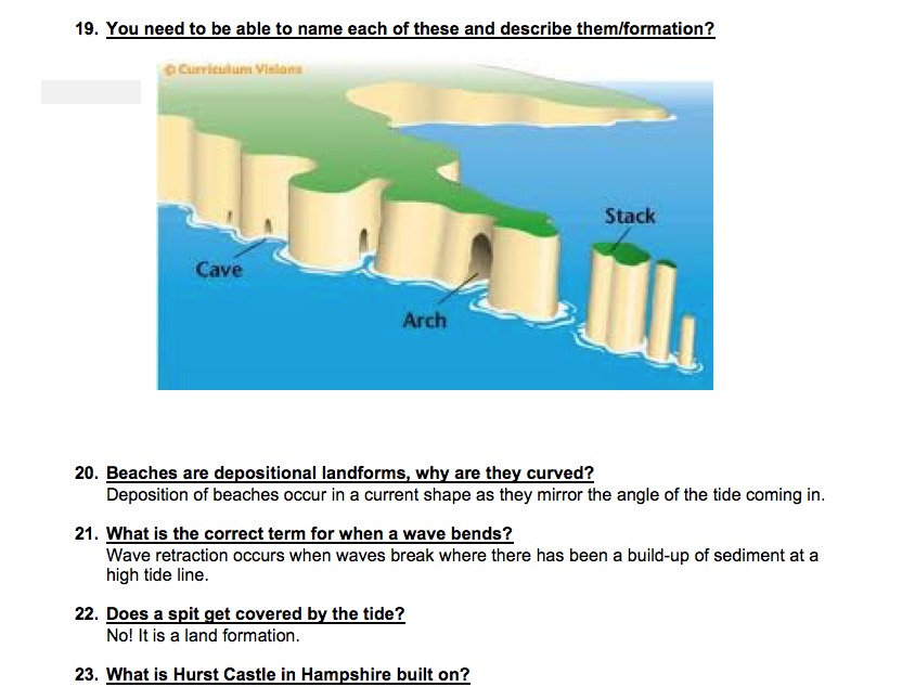 Coasts and the Coastal Zone Q&A revision pack AQA (GCSE)