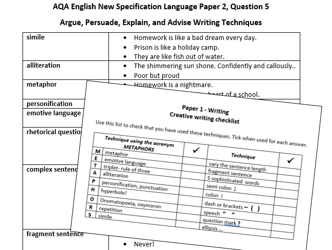 Quick checklist for writing - Papers 1 and 2 AQA new specification GCSE English