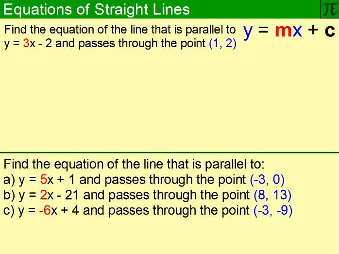 Equations of Straight Lines - Flipchart
