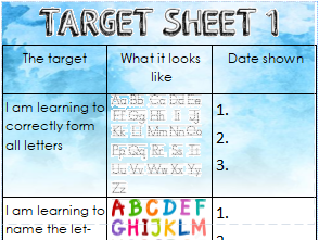 Writing assessment sheets Year 1