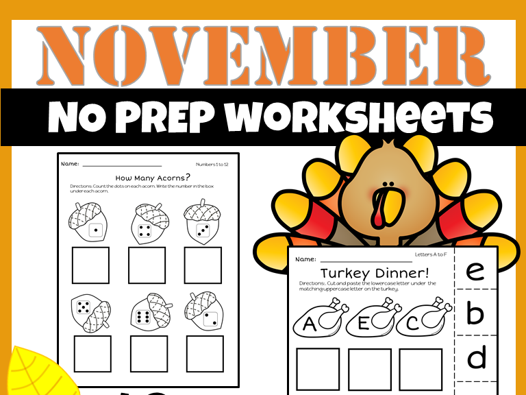 November Math and Literacy  {No Prep}