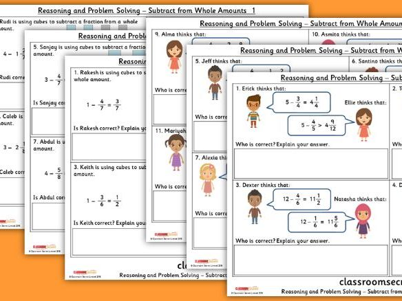 Year 4 Subtract from Whole Amounts Spring Block 3 Reasoning and Problem Solving Pack
