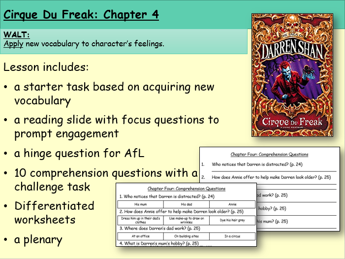 Cirque du Freak: Chapter Four (Reading and Comprehension)