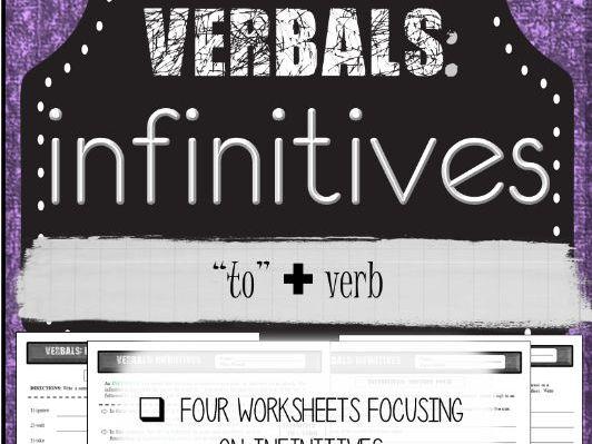 Grammar: Verbals INFINITIVES Practice Worksheets (Common Core Aligned)