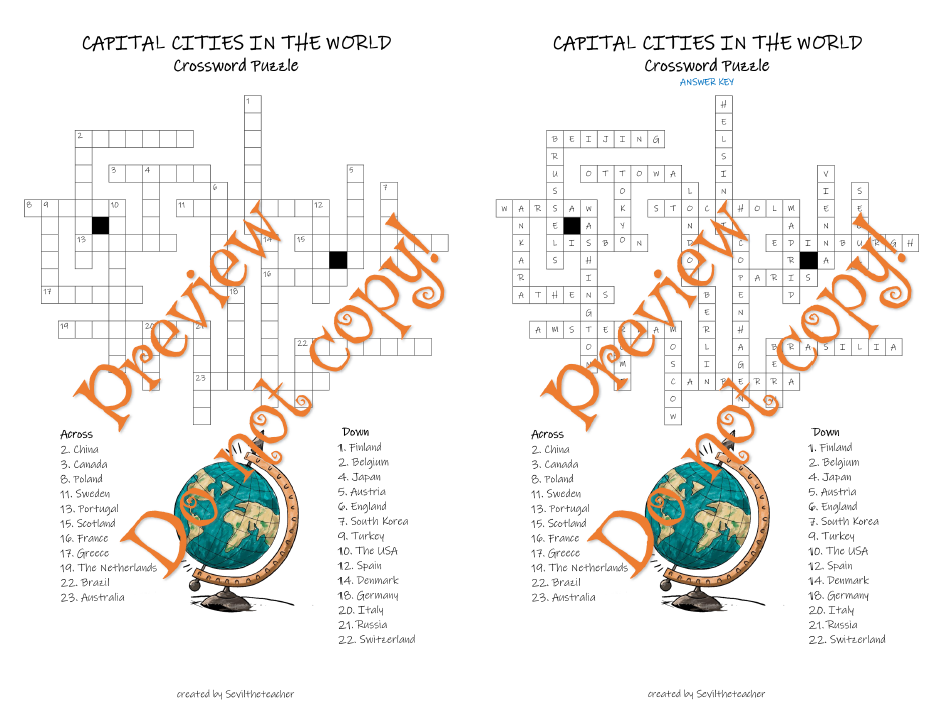Capital Cities in The World Crossword Puzzle