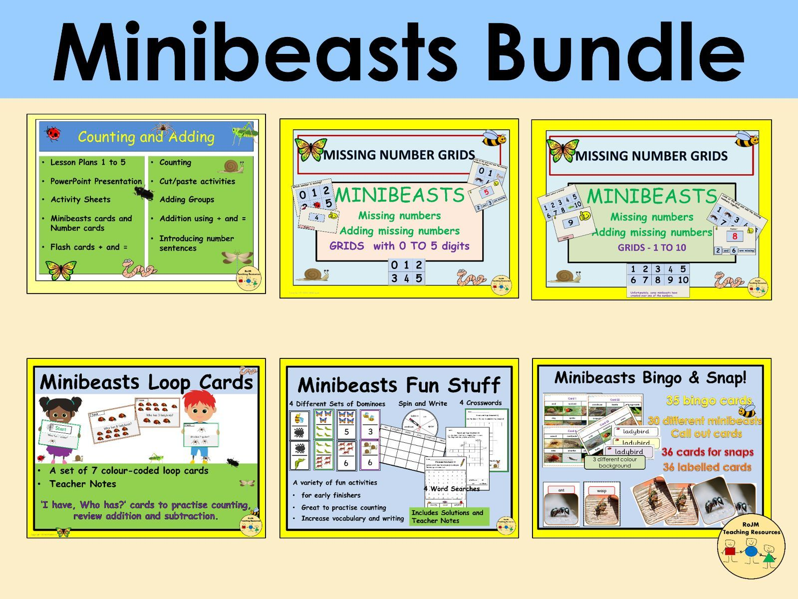 Minibeasts Insects Bug Bundle Counting Adding Missing Numbers Word Search Puzzles Bingo