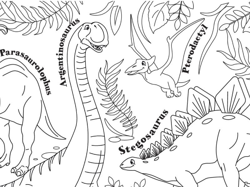 Dinosaur prehistoric colouring activity worksheet