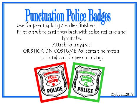 PUNCTUATION POLICE BADGES - FOR PEER MARKING