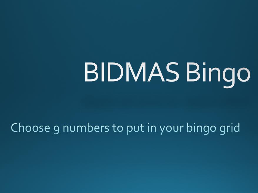 BIDMAS Bingo