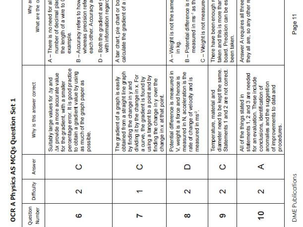 OCR A Physics AS and A level Multiple Choice Questions (test 2) for topics 1.1 to 4.5