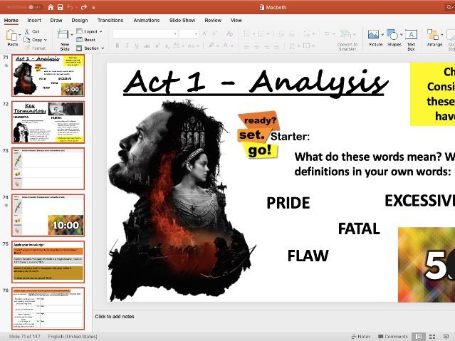 Macbeth Act 1 - Key Terminology Analysis (Stretch and Challenge)