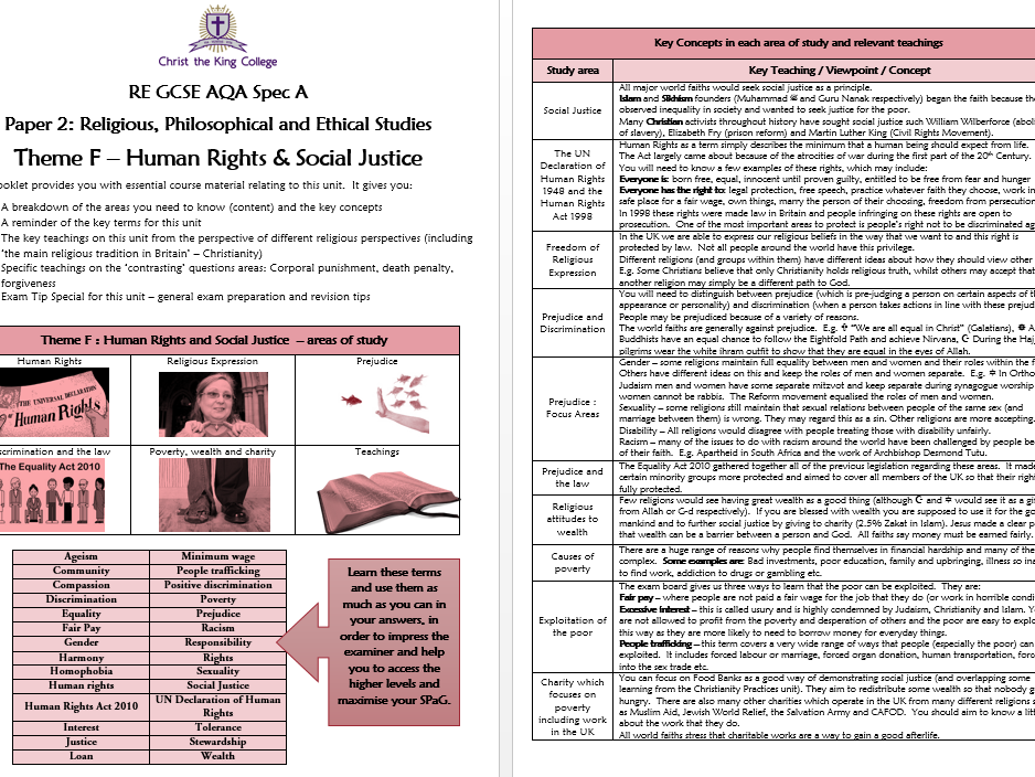 AQA RE GCSE Human Rights and Social Justice - Essential Concepts and Teachings Booklet