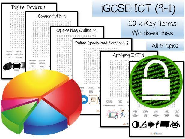 TWENTY iGCSE ICT key terms wordsearches